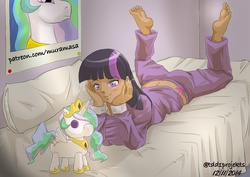 Size: 800x565 | Tagged: artist:muramasa, barefoot, bed, bedroom, blushing, clothes, feet, human, humanized, implied lesbian, implied shipping, implied twilestia, midriff, pajamas, plushie, poster, princess celestia, safe, twilight sparkle, url