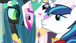 Size: 1280x720 | Tagged: safe, artist:dtkraus, edit, edited edit, edited screencap, screencap, princess celestia, queen chrysalis, shining armor, changeling, a canterlot wedding, alternate ending, bad end, bedroom eyes, disguise, disguised changeling, eye contact, fake cadance, female, impossibly wide description, male, mask, now you fucked up, paper-thin disguise, role reversal, seems legit, shining armor is a goddamn moron, shining chrysalis, shipping, smiling, spy, straight, stupidity, team fortress 2, wallpaper, wedding