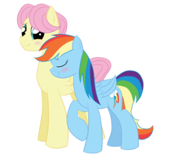 Size: 923x865 | Tagged: safe, artist:bratzoid, fluttershy, rainbow dash, backwards cutie mark, blushing, butterdash, butterscotch, female, half r63 shipping, male, rule 63, shipping, smoldash, straight, tallershy