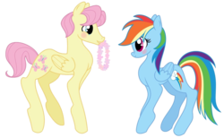 Size: 1006x619 | Tagged: safe, artist:itspeacocktime, fluttershy, rainbow dash, backwards cutie mark, blushing, butterdash, butterscotch, female, half r63 shipping, male, rule 63, shipping, straight