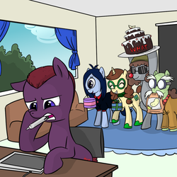 Size: 800x800 | Tagged: safe, artist:madmax, cyclops pony, oc, oc only, oc:eva, oc:iris, oc:madmax, oc:ragingsemi, oc:sarge sprinkles, cyclops, earth pony, pony, unicorn, bipedal, birthday, cake, clothes, drawing tablet, eyes closed, female, glasses, happy, helmet, hoof hold, male, mare, mouth hold, ponysona, red nose, stallion, sunglasses, tablet, tablet pen