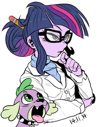 Size: 866x1125 | Tagged: dead source, safe, artist:nekubi, sci-twi, spike, spike the regular dog, twilight sparkle, dog, equestria girls, rainbow rocks, clothes, female, glasses, hair bun, lab coat, open mouth, pencil, scientist, simple background, tongue out, white background