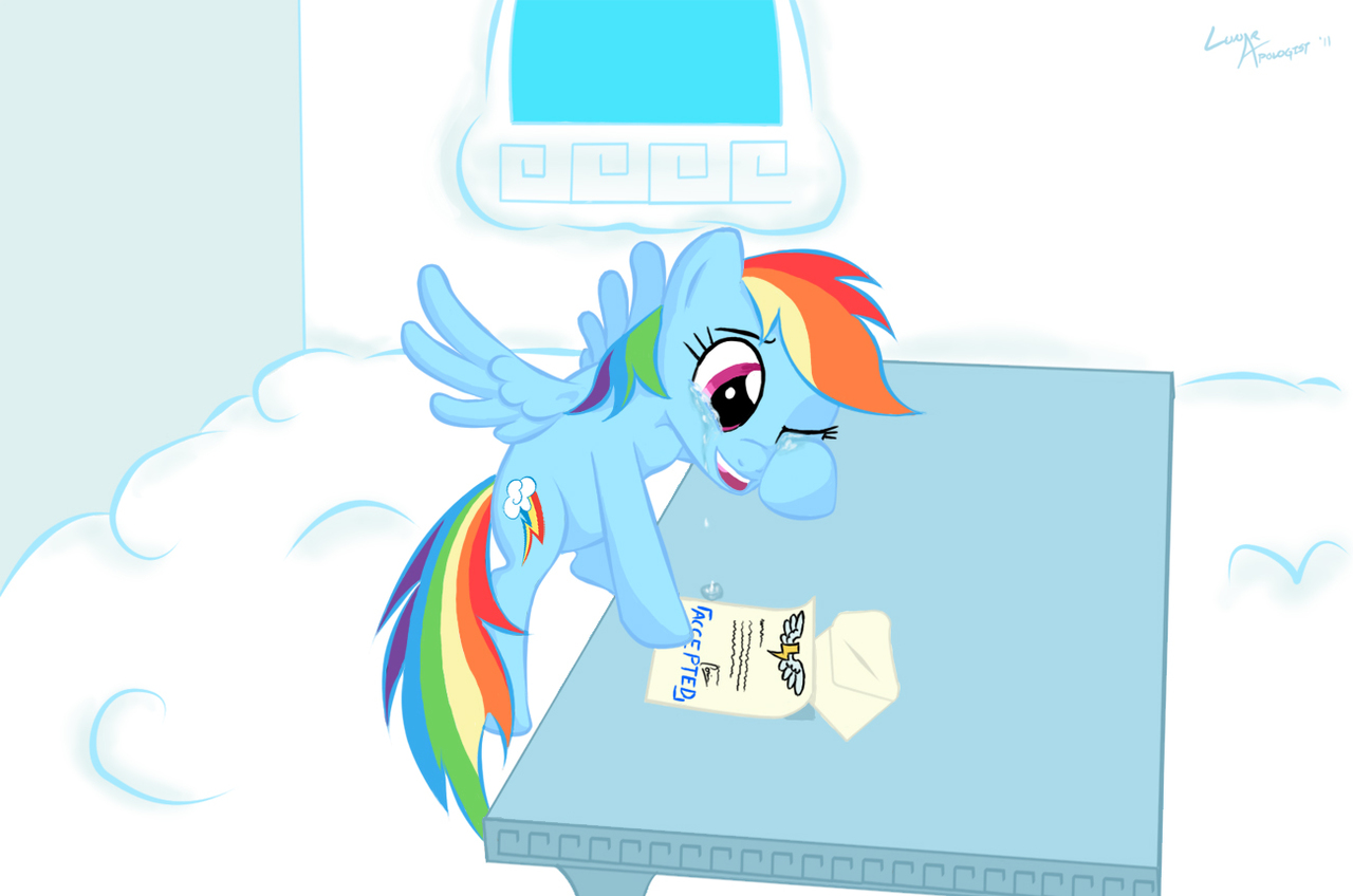 ArtistLunarapologist Crying Happy Letter Rainbow Dash