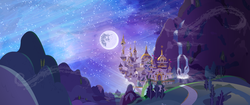 Size: 5120x2160 | Tagged: safe, artist:minty root, dinky's destiny, background, canterlot, mare in the moon, moon, night, no pony, scenery, vector, wallpaper