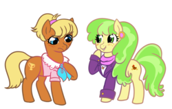 Size: 1280x812 | Tagged: safe, artist:ficficponyfic, chickadee, ms. harshwhinny, ms. peachbottom, 30 minute art challenge, alternate hairstyle, clothes swap, mane swap