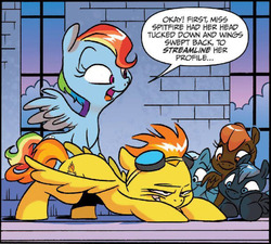 Size: 822x741 | Tagged: safe, idw, rainbow dash, spitfire, pegasus, pony, friends forever, spoiler:comic, spoiler:comicff11, demonstration, face down ass up, floppy ears, foal, goggles, grin, misleading thumbnail, open mouth, out of context, smiling, smirk, teaching