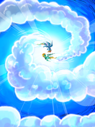 Size: 2178x2903 | Tagged: artist:flamevulture17, blue sky, cloud, duo, female, flying, lightning dust, pegasus, pony, rainbow dash, safe