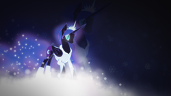 Size: 1920x1080 | Tagged: safe, artist:divideddemensions, artist:up1ter, nightmare moon, clothes, glow, snow, snowflake, vector, wallpaper