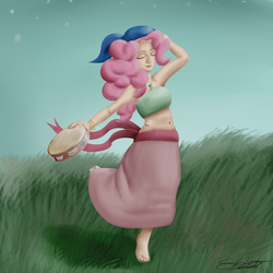 Size: 2000x2000 | Tagged: safe, artist:schizophrenicghost, pinkie pie, human, barefoot, bracelet, clothes, eyes closed, feet, female, grass, gypsy pie, humanized, long skirt, musical instrument, necklace, scarf, skirt, sky, solo, tambourine