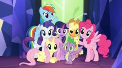 Size: 1268x704 | Tagged: safe, edit, applejack, fluttershy, pinkie pie, rainbow dash, rarity, spike, twilight sparkle, earth pony, pegasus, pony, unicorn, twilight's kingdom, alicorn spike, alidragon, earth pony rainbow dash, earth pony twilight, hilarious in hindsight, mane six, pegasus pinkie pie, pegasus rarity, race swap, unicorn applejack, unicorn fluttershy