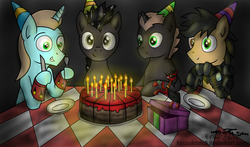Size: 2540x1490 | Tagged: safe, artist:koshakevich, artist:setharu, artist:thestive19, oc, oc only, oc:judge, oc:set, oc:tinker trivia, earth pony, pony, unicorn, birthday cake, cake, candle, food, grin, happy birthday, hat, heterochromia, looking at you, male, party hat, plate, silverware, smiling, stallion, table