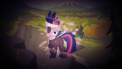 Size: 1920x1080   Tagged: safe, artist:divideddemensions, artist:quanno3, twilight sparkle, pony, unicorn, eyepatch, female, future twilight, ghastly gorge, glow, gorge, headband, mare, tree, unicorn twilight, vector, wallpaper