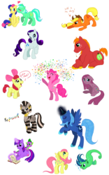 Size: 1250x2000 | Tagged: safe, artist:c-puff, apple bloom, applejack, big macintosh, bon bon, fluttershy, lyra heartstrings, pinkie pie, princess luna, rarity, sea shimmer, spike, sweetie drops, twilight sparkle, zecora, dragon, earth pony, pony, sea pony, zebra, adorabon, apple bloom's bow, applejack's hat, baby, baby dragon, bipedal, book, bow, braid, confetti, cowboy hat, cute, dialogue, digital art, ear piercing, earring, eyes closed, female, filly, foal, g1, g1betes, hair bow, hat, heart, jewelry, kissing, lesbian, lyrabetes, lyrabon, macabetes, magic, male, mare, one hoof raised, open mouth, piercing, pinkamena diane pie, shipping, simple background, sitting, sketch dump, smiling, stallion, standing, transparent background, twice as fancy, twice as fancy ponies, wall of tags, zecorable