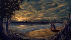 Size: 3000x1680 | Tagged: dead source, safe, artist:shamanguli, twilight sparkle, unicorn, female, fisheye lens, lake, scenery, scenery porn, solo, sunset, unicorn twilight, water