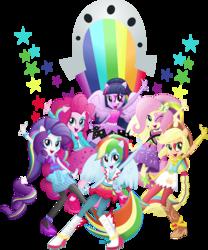 Size: 3000x3606 | Tagged: safe, artist:theshadowstone, applejack, fluttershy, pinkie pie, rainbow dash, rarity, twilight sparkle, equestria girls, rainbow rocks, humane six, mane six, ponied up, simple background, the rainbooms, transparent background, twilight sparkle (alicorn), vector