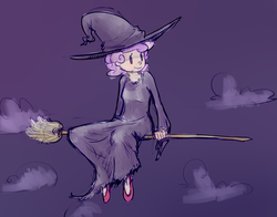 Size: 2344x1838 | Tagged: safe, artist:nobody, sweetie belle, human, broom, cloud, cloudy, flying, flying broomstick, hat, humanized, night, sitting, smiling, solo, witch, witch hat