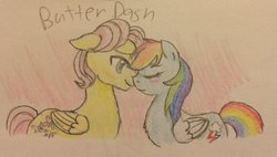 Size: 900x512   Tagged: safe, artist:fallenangel5414, fluttershy, rainbow dash, blushing, butterdash, butterscotch, eyes closed, female, floppy ears, fluffy, half r63 shipping, imminent kissing, male, nuzzling, rule 63, shipping, smiling, straight