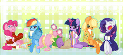 Size: 1600x716 | Tagged: safe, artist:pomnoi, applejack, fluttershy, pinkie pie, rainbow dash, rarity, spike, twilight sparkle, pony, bathrobe, cake, clothes, coffee, cute, eyes closed, food, hair curlers, magic, mane seven, mane six, messy mane, morning ponies, puffy cheeks, robe, sweater, telekinesis