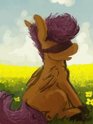 Size: 600x800 | Tagged: safe, artist:celestiawept, scootaloo, pegasus, pony, blank flank, blindfold, female, flower field, folded wings, grass field, open mouth, profile, sitting, solo