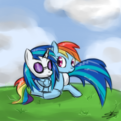 Size: 900x900 | Tagged: artist:speccysy, dj pon-3, female, lesbian, rainbow dash, safe, shipping, vinyldash, vinyl scratch