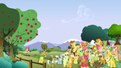 Size: 5105x2864 | Tagged: safe, artist:90sigma, artist:abydos91, artist:atmospark, artist:daringdashie, artist:mandydax, artist:rainbowplasma, apple bloom, apple bumpkin, apple cider (character), apple cobbler, apple fritter, apple honey, apple munchies, apple strudel, apple strudely, apple tarty, applejack, aunt orange, big macintosh, braeburn, buttercream, caramel apple, gala appleby, ginger gold, golden delicious, granny smith, jonagold, lavender fritter, marmalade jalapeno popette, mosely orange, pacific rose, peachy sweet, perfect pie, pink lady, red delicious, red gala, uncle orange, violet fritter, winona, earth pony, pony, apple family, apple family member, apple tree, background pony, clothes, collaboration, female, filly, hat, male, mare, orange wafer, saddle bag, stallion, svg, the oranges, tree, vector, wallpaper