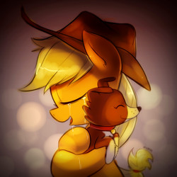 Size: 2000x2000 | Tagged: safe, artist:maren, applejack, winona, dog, earth pony, pony, applejack's hat, border collie, cowboy hat, crying, cute, daaaaaaaaaaaw, eyes closed, happy, hat, heartwarming, hnnng, hug, jackabetes, open mouth, smiling, sweet dreams fuel, tears of joy, winonabetes