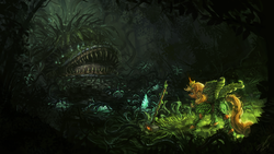 Size: 3840x2160 | Tagged: safe, artist:assasinmonkey, applejack, alicorn, pony, alicornified, apple tree, applecorn, armor, awesome, black vine, carnivorous plant, detailed, earth pony magic, element of honesty, elements of harmony, epic, everfree forest, fight, final fantasy, hammer, leaf wings, malboro, monster, race swap, scenery, scenery porn, wallpaper, war hammer, weapon