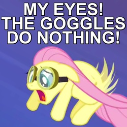Size: 450x450 | Tagged: safe, edit, edited screencap, screencap, fluttershy, hurricane fluttershy, caption, goggles, image macro, open mouth, reaction image, reference, solo, the simpsons
