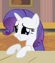 Size: 791x911 | Tagged: safe, screencap, rarity, pony, unicorn, rarity takes manehattan, big eyes, cute, desk, dilated pupils, female, grin, leaning, mare, rarara, raribetes, smiling, solo, squee