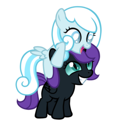 Size: 2000x2000 | Tagged: safe, artist:posey-11, oc, oc only, oc:nyx, oc:snowdrop, cute, nyxabetes, ponies riding ponies, riding, snowbetes, snowdrop riding nyx, snownyx