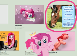 Size: 810x586 | Tagged: advertisement, artist:extradan, artist:jolinnar, artist:junkiekb, artist:megasweet, artist:spier17, balloon animal, balloon pony, computer, deviantart, horse, irl horse, looking at you, meme, oh come on, pinkie pie, safe, shrug, shrugpony, wat