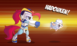 Size: 3000x1800 | Tagged: safe, artist:drawntildawn, oc, oc only, oc:phoe, sheep, arm cannon, awesome, bipedal, crossover, crying, hadouken, megaman, megaman x, speed lines, wat