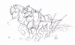 Size: 1229x749 | Tagged: safe, artist:carnivorouscaribou, applejack, big macintosh, earth pony, pony, harness, male, monochrome, plow, pulling, sketch, stallion, sweat, traditional art, working, yoke