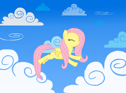 Size: 1224x900 | Tagged: safe, artist:issyrael, fluttershy, cloud, cloudy, eyes closed, flying, solo