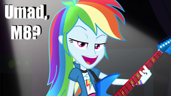 Size: 1920x1080 | Tagged: safe, edit, edited screencap, screencap, rainbow dash, equestria girls, rainbow rocks, awesome as i wanna be, awesome as i want to be, caption, female, guitar, image macro, meme, rainbow dash is best facemaker, solo, trollface, u mad
