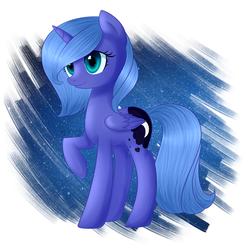 Size: 2338x2341 | Tagged: safe, artist:sannykat, princess luna, pony, abstract background, female, raised hoof, s1 luna, smiling, solo