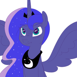 Size: 1000x1000 | Tagged: safe, artist:khorme, princess luna, nose wrinkle, pouting, solo, spread wings