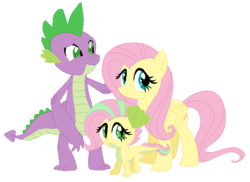 Size: 728x530 | Tagged: safe, artist:unoriginai, fluttershy, spike, oc, dracony, dragon, hybrid, cute, family, fangs, female, filly, flutterspike, interspecies offspring, male, offspring, older, older spike, parent:fluttershy, parent:spike, parents:flutterspike, raised eyebrow, shipping, simple background, smiling, straight, white background