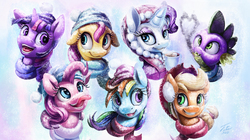 Size: 2500x1400 | Tagged: safe, artist:tsitra360, applejack, fluttershy, pinkie pie, rainbow dash, rarity, spike, twilight sparkle, clothes, collage, fire, fire breath, heart, hot chocolate, mane seven, mane six, portrait, scarf, smoke, snow, snowfall, tongue out, wallpaper, winter