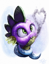 Size: 1804x2353 | Tagged: safe, artist:tsitra360, spike, dragon, clothes, fire, fire breath, heart, male, portrait, scarf, smoke, snow, snowfall, solo, tongue out, winter