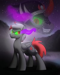 Size: 800x1000 | Tagged: safe, artist:drawponies, king sombra, oc, pegasus, pony, umbrum, commission, fangs, glowing eyes, grin, smirk