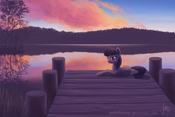 Size: 1575x1049 | Tagged: safe, artist:joellethenose, octavia melody, earth pony, pony, beautiful, bedroom eyes, cloud, cloudy, evening, featured image, female, grass, lake, looking at you, mare, missing accessory, nature, outdoors, pier, prone, reflection, scenery, scenery porn, signature, sky, smiling, solo, sunset, tree