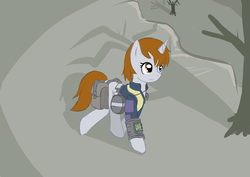 Size: 4092x2893 | Tagged: artist:he4rtofcourage, canteen, clothes, dead tree, fallout equestria, fanfic, fanfic art, female, hooves, horn, mare, oc, oc:littlepip, oc only, pipbuck, pony, saddle bag, safe, solo, tree, unicorn, vault suit, wasteland