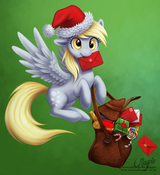 Size: 899x981 | Tagged: safe, artist:laurenmagpie, derpy hooves, pegasus, pony, bag, candy cane, christmas, cute, derpabetes, featured image, female, flying, hat, letter, lollipop, mailmare, mare, mouth hold, present, santa hat, solo, spread wings