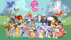 Size: 2560x1440 | Tagged: ace, aloe, angel bunny, apple bloom, applejack, artist:ponycomicconposter, berry punch, berryshine, big macintosh, bloomberg, bon bon, braeburn, carrot cake, cheerilee, cherry berry, chief thunderhooves, cockatrice, comic con, cup cake, cutie mark crusaders, derpy hooves, diamond dog, diamond tiara, dj pon-3, doctor whooves, donut joe, dumbbell, earth pony, fido, fluttershy, gilda, granny smith, griffon, gummy, hoity toity, hoops, hydra, joe, little strongheart, lotus blossom, madame leflour, male, mane six, manticore, mayor mare, minuette, mr. turnip, multiple heads, my little pony logo, octavia melody, official, official season poster, opalescence, orion, owlowiscious, parasprite, philomena, phoenix, photo finish, pinkie pie, pony, poster, prince blueblood, princess celestia, princess luna, quarterback, rainbow dash, rarity, rocky, rover, royal guard, safe, sapphire shores, scootaloo, score, sea serpent, season 1, shooting star (character), silver spoon, sir lintsalot, snails, snips, soarin', spa twins, spike, spitfire, spot, stallion, steven magnet, sweetie belle, sweetie drops, time turner, trixie, twilight sparkle, twist, vinyl scratch, wall of tags, wallpaper, winona, zebra, zecora