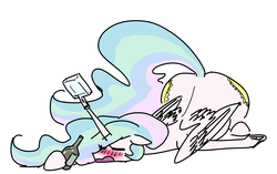 Size: 2503x1570 | Tagged: alcohol, artist:nobody, both cutie marks, bottle, drink, drunk, drunklestia, horn hold, majestic as fuck, princess celestia, safe, sleeping, solo