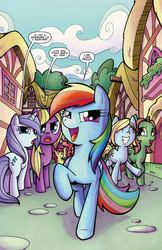 Size: 791x1217 | Tagged: safe, artist:agnesgarbowska, idw, apple bloom, big macintosh, rainbow dash, earth pony, pony, spoiler:comic, spoiler:comicff6, comic, idw advertisement, male, preview, stallion, swag