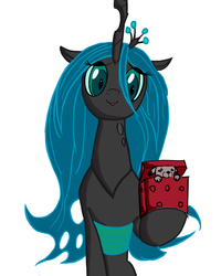 Size: 900x1125 | Tagged: safe, artist:chapaevv, queen chrysalis, changeling, changeling queen, cute, cutealis, female, present, puppy, red box