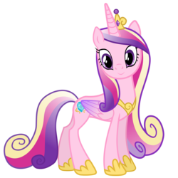 Size: 3600x3600 | Tagged: safe, artist:90sigma, princess cadance, alicorn, pony, .svg available, colored wings, female, folded wings, high res, hoof shoes, jewelry, looking at you, mare, multicolored hair, multicolored wings, simple background, smiling, solo, tiara, transparent background, vector, wings