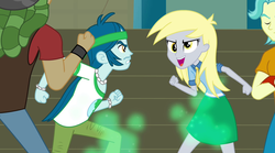Size: 1280x714 | Tagged: safe, screencap, brawly beats, captain planet, derpy hooves, sandalwood, equestria girls, rainbow rocks, background human, camrip, come at me bro, eco kids, imminent fight
